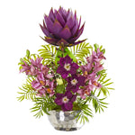 Nearly Natural 24`` Cymbidium Orchid and Mixed Floral Artificial Arrangement in Silver Vase