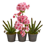 Nearly Natural 15`` Cherry Blossom and Cactus Artificial Arrangement in Trio Metal Vase
