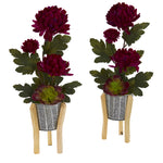 Nearly Natural 20`` Mum and Succulent Artificial Arrangement in Tin Planter with Legs (Set of 2)