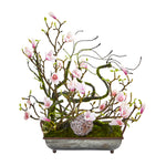 Nearly Natural 26`` Magnolia, Twig and Vine Artificial Arrangement in Decorative Tray