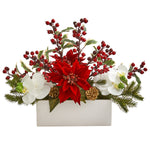 Nearly Natural Phalaenopsis Orchid, Poinsettia and Holly Berry Artificial Arrangement