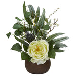 Nearly Natural 14`` Rose and Eucalyptus Artificial Arrangement in Stone Brown Vase