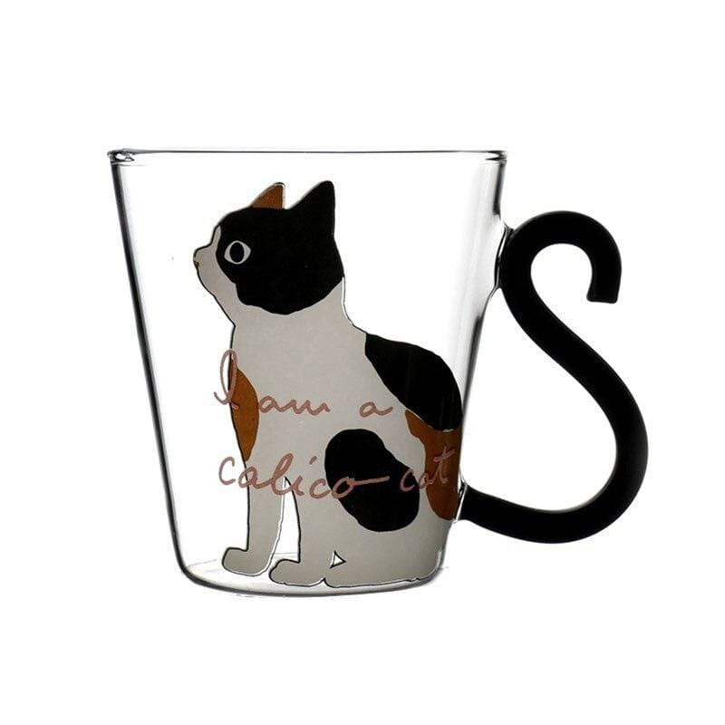 Kitty Cat Glass Mug with Tail Handle Gifts White Cat / 201-300ml DISCOUNT