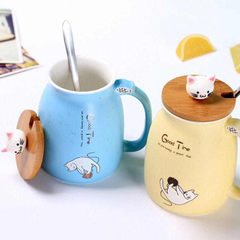 Cute Cat Ceramic Mug/Cup With Spoon And Three-dimensional kitty Wood Lid Gifts DISCOUNT