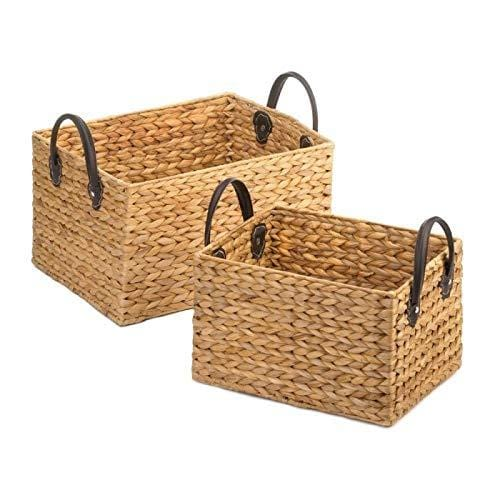 Unique Wicker Storage Baskets Duo Decorative Retro Display Storage Basket for Laundry, Picnic, Plant, Toys Organizer
