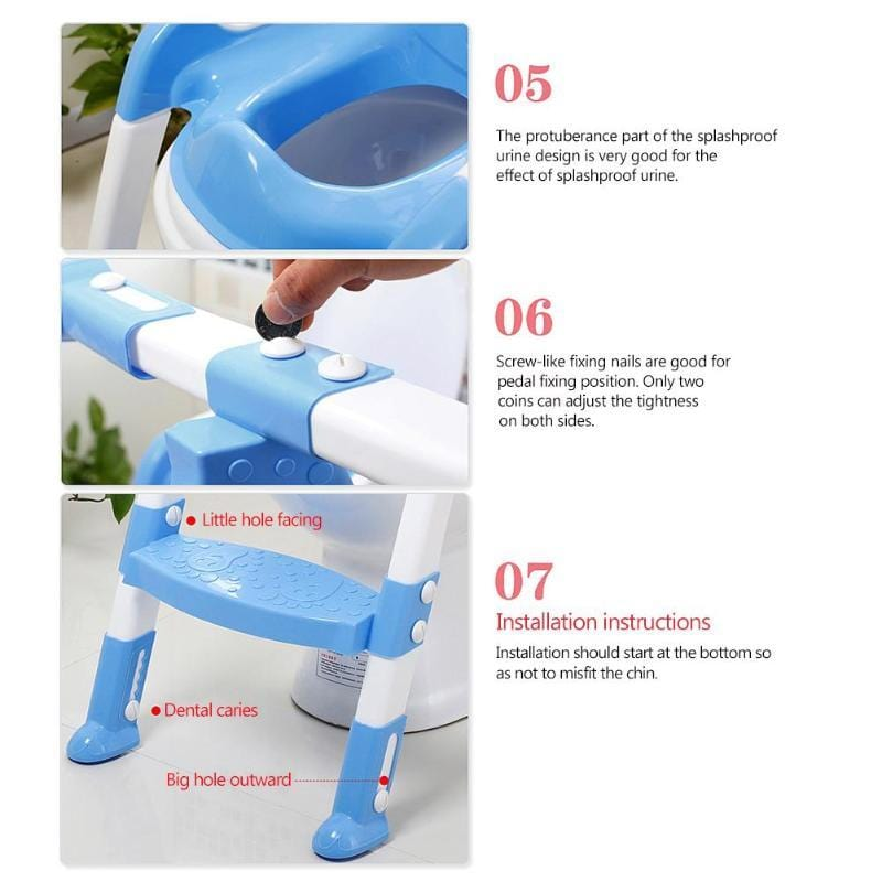 High Quality Folding Baby Potty Infant Toilet Training Seat With Adjustable Ladder Portable