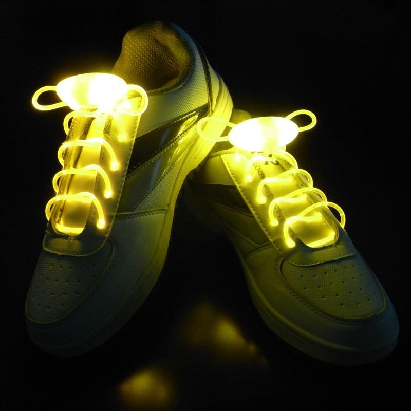 LED Light Up Shoestring Glowing Shoelaces, Novelty Party Dress Decor Yellow DISCOUNT