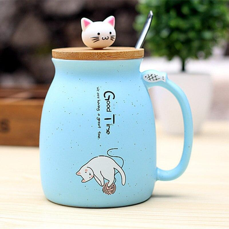 Cute Cat Ceramic Mug/Cup With Spoon And Three-dimensional kitty Wood Lid Gifts blue DISCOUNT