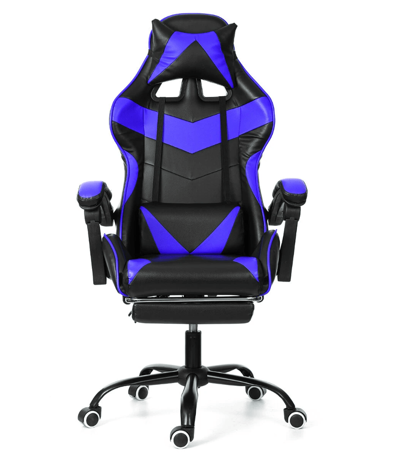 Gaming Chair Racing Style Office Chair Adjustable Lumbar Cushion Recliner Leather High Back Ergonomic Computer Desk Chair with Retractable Arms and Footrest