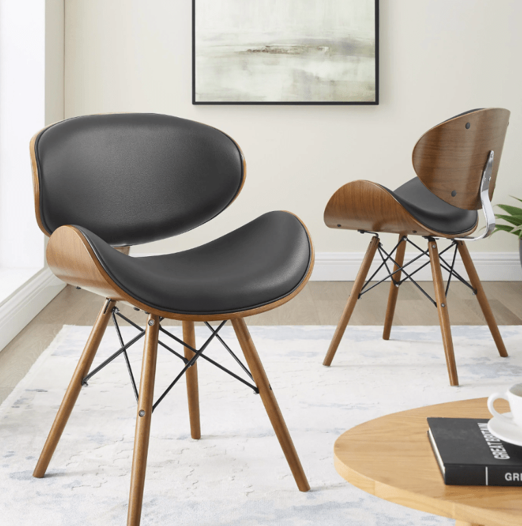 Cassie Dining Chair Mid-Century Faux Leather Walnut
