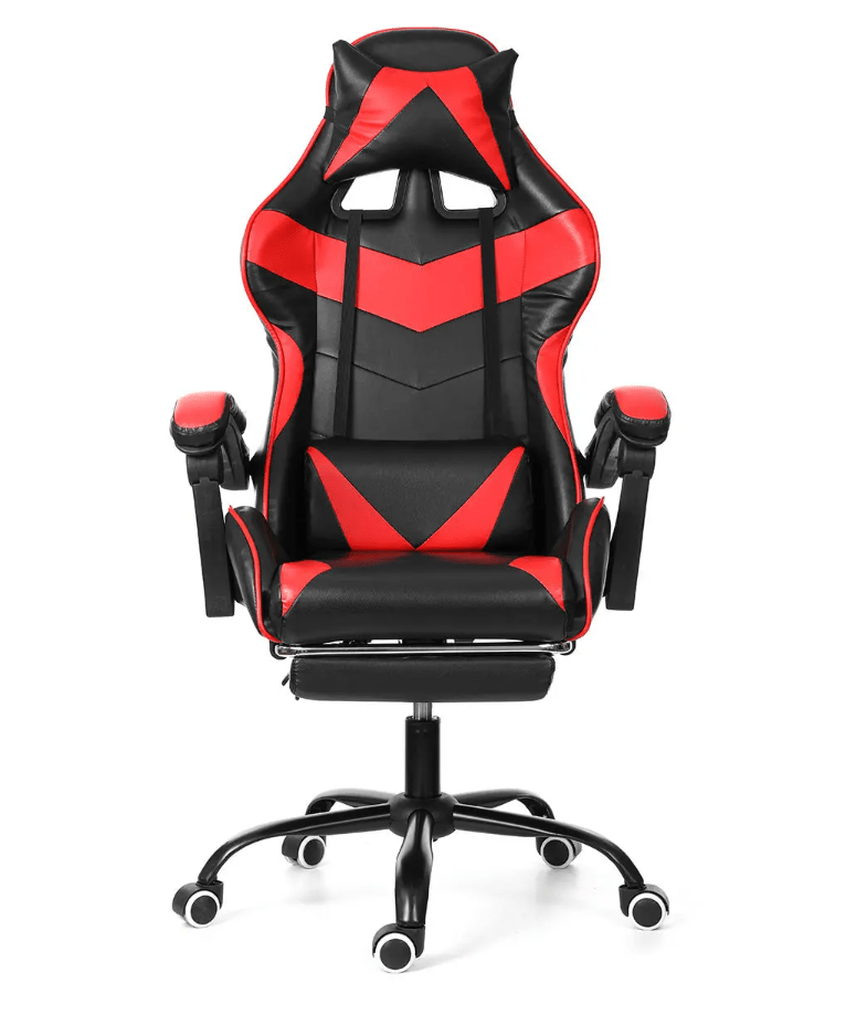 Gaming Chair Racing Style Office Chair Adjustable Lumbar Cushion Recliner Leather High Back Ergonomic Computer Desk Chair with Retractable Arms and Footrest Office Black&Red DISCOUNT