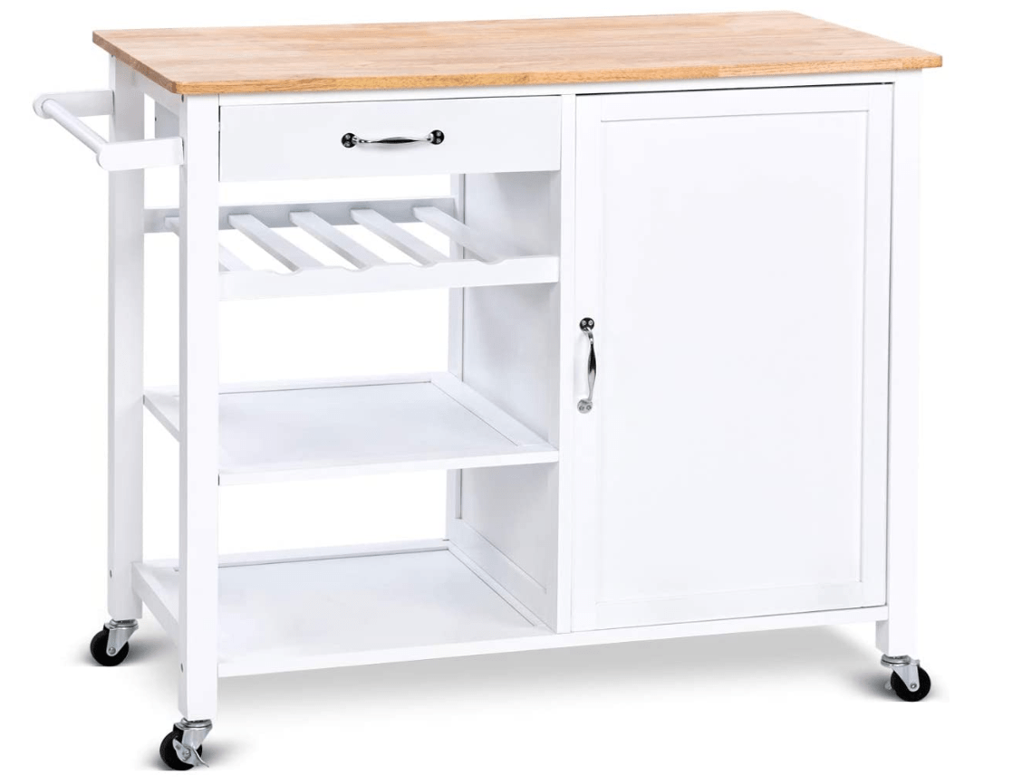 Multi-Function White Kitchen Island on wheels/Trolley Cart Home & Kitchen DISCOUNT