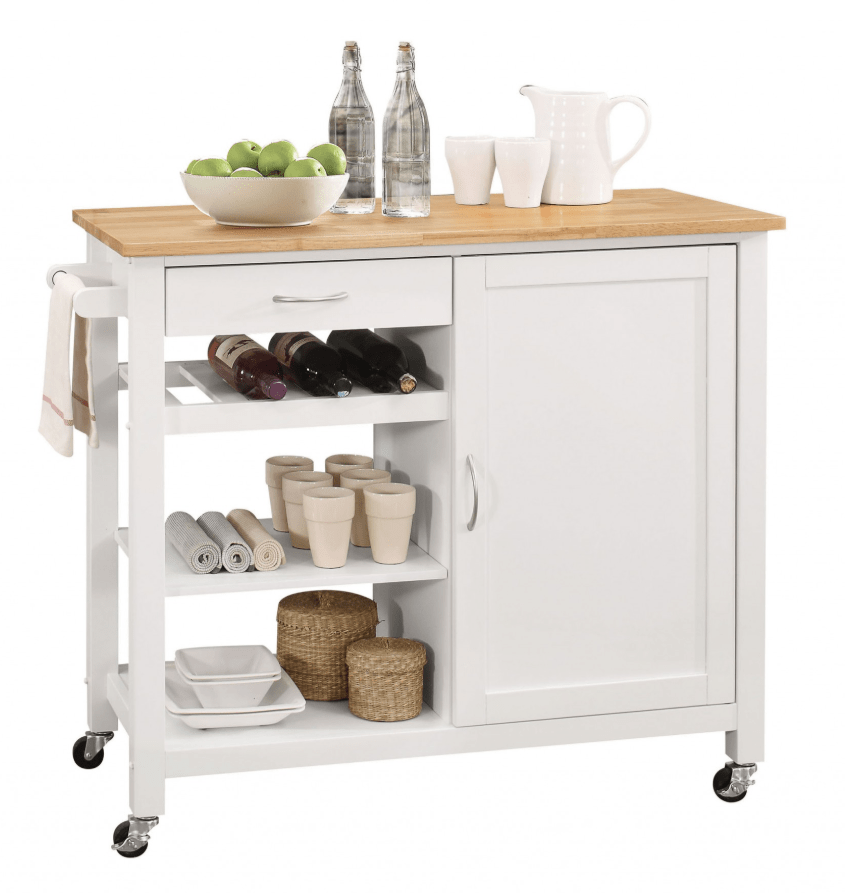 Multi-Function White Kitchen Island on wheels/Trolley Cart