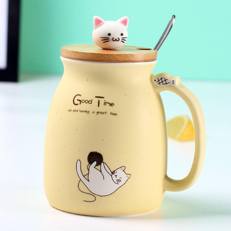Cute Cat Ceramic Mug/Cup With Spoon And Three-dimensional kitty Wood Lid Gifts yellow DISCOUNT