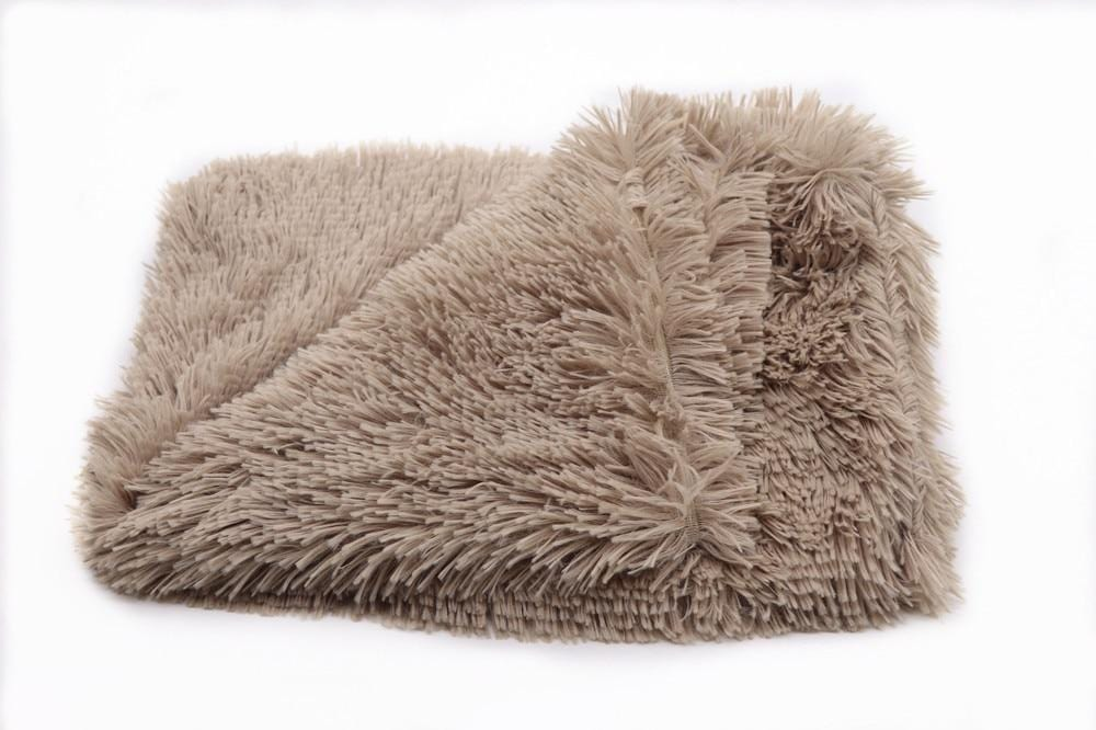 Plush dog beds for large dog in dog Winter cat Bed Mat Soft Pet long plush Dog Kennel pet blanket dog house bed Brown / 100x75CM DISCOUNT