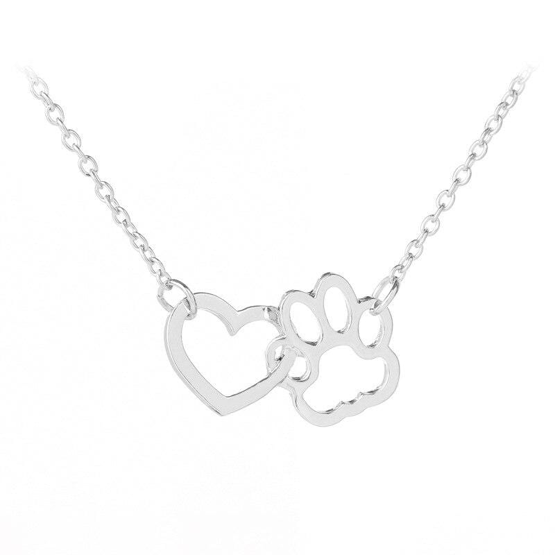 Hollow Pet Paw Footprint Necklaces Silver DISCOUNT