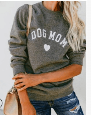 DOG MOM  Sweatshirt Women's Clothing & Accessories Gray / L DISCOUNT