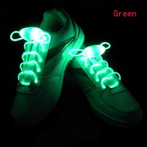 LED Light Up Shoestring Glowing Shoelaces, Novelty Party Dress Decor Green DISCOUNT