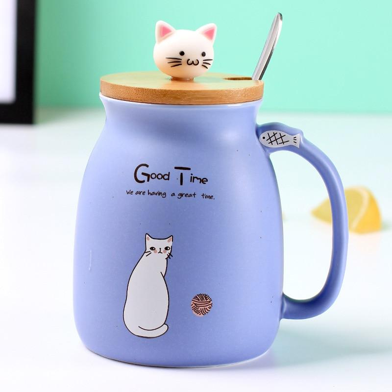 Cute Cat Ceramic Mug/Cup With Spoon And Three-dimensional kitty Wood Lid Gifts purple DISCOUNT