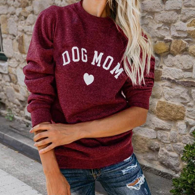 DOG MOM  Sweatshirt Women's Clothing & Accessories Red / M DISCOUNT
