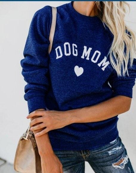 DOG MOM  Sweatshirt Women's Clothing & Accessories Blue / L DISCOUNT