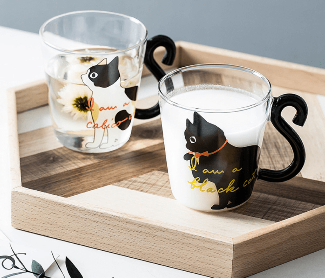 Kitty Cat Glass Mug with Tail Handle