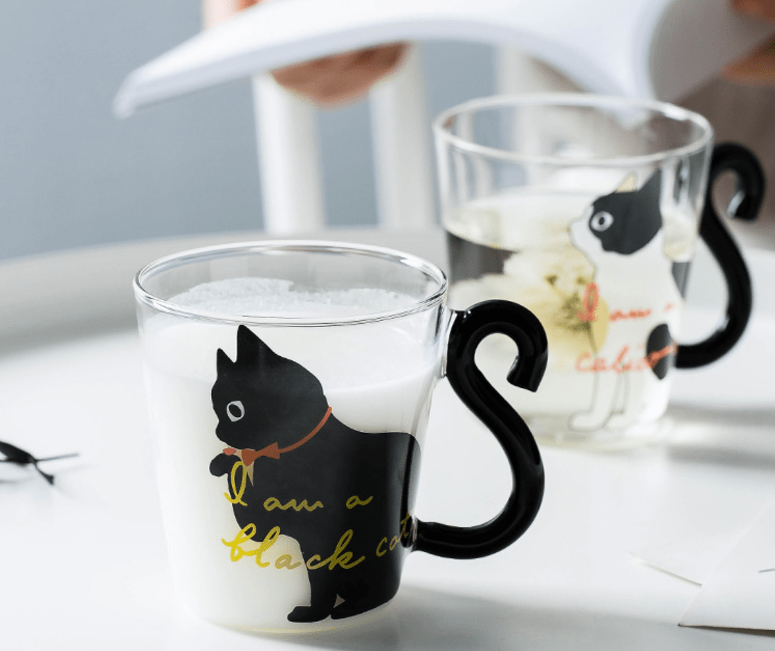 Kitty Cat Glass Mug with Tail Handle Gifts Black Cat / 201-300ml DISCOUNT
