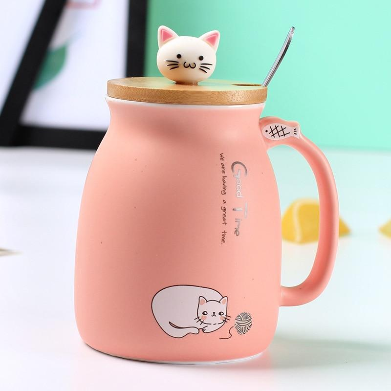Cute Cat Ceramic Mug/Cup With Spoon And Three-dimensional kitty Wood Lid Gifts pink DISCOUNT
