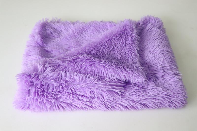 Plush dog beds for large dog in dog Winter cat Bed Mat Soft Pet long plush Dog Kennel pet blanket dog house bed PURPLE / 100x75CM DISCOUNT