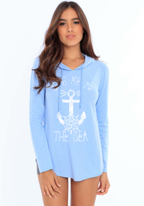 The Sea WMN's Oversized Lightweight Slub Hoodie - Serenity Blue