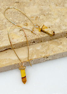Bullet Stone Hoop Earrings - In Your Space Boutique