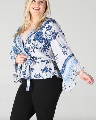 Indigo Floral Top - In Your Space Boutique