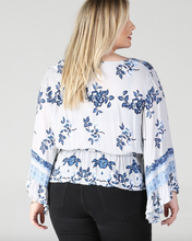 Load image into Gallery viewer, Indigo Floral Top - In Your Space Boutique