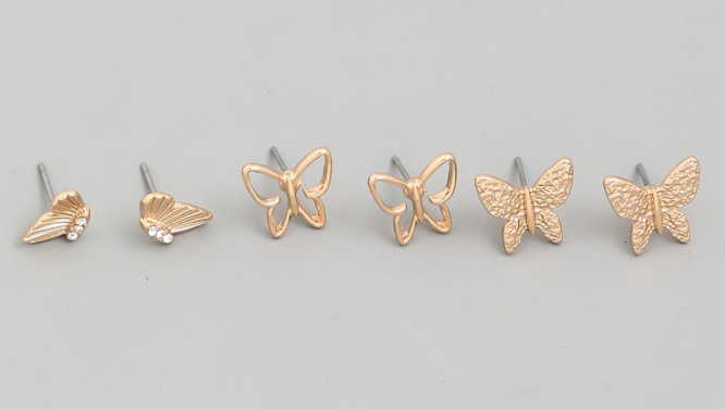 Mini Butterfly Stud Earrings Set - In Your Space Boutique