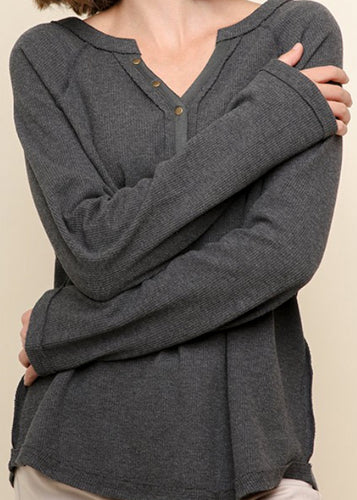 Long Sleeve Waffle Knit Henley Top - In Your Space Boutique