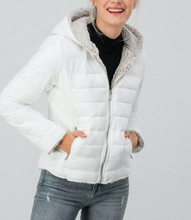 Load image into Gallery viewer, White Puffer Jacket W/ Hood - In Your Space Boutique