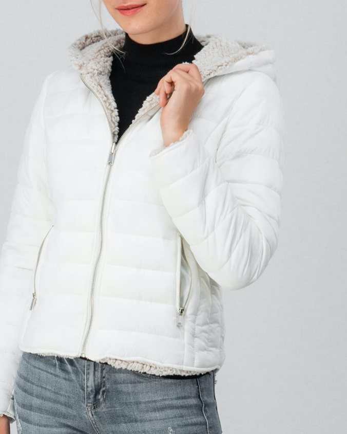 White Puffer Jacket W/ Hood - In Your Space Boutique