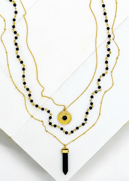 Black Onyx Stone Pendant Necklace - In Your Space Boutique