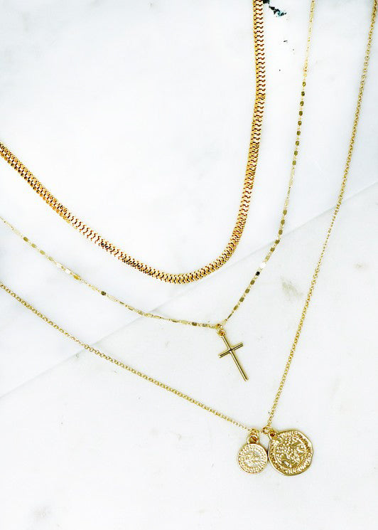 Trio Cross Necklace - In Your Space Boutique