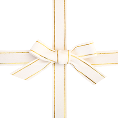 White & Gold Stripe Ribbon