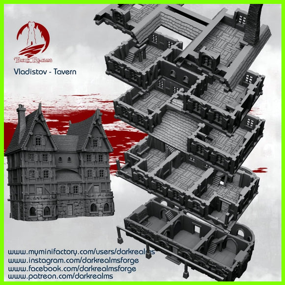 Vladistov Tavern#2 Dark Realms - STL File for 3D Print - indymodel88