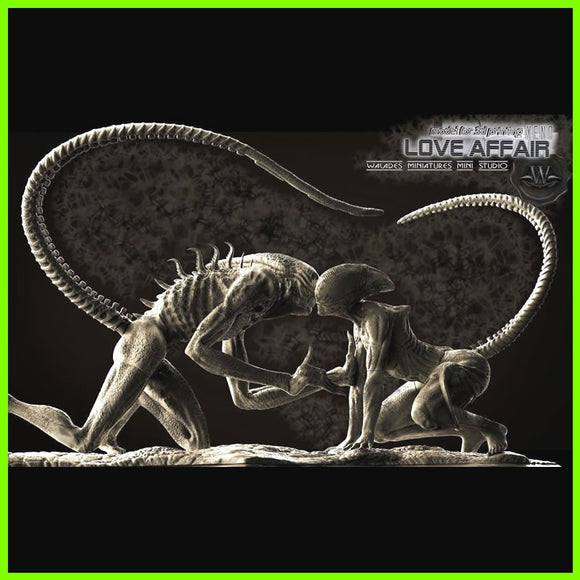 Alien Xenomorph King and Queen - STL File for 3D Print - indymodel88