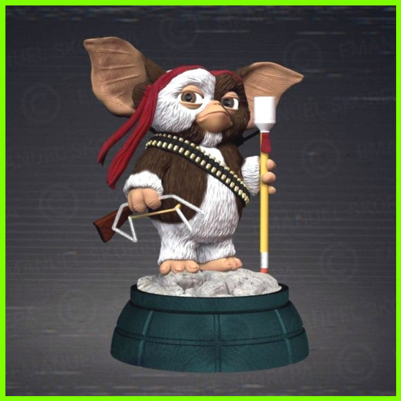 Gremlins Gizmo as Rambo - STL File for 3D Print - indymodel88