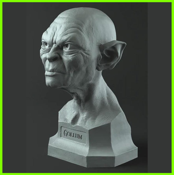 Gollum Bust The Lord of the Rings  - STL File for 3D Print - indymodel88