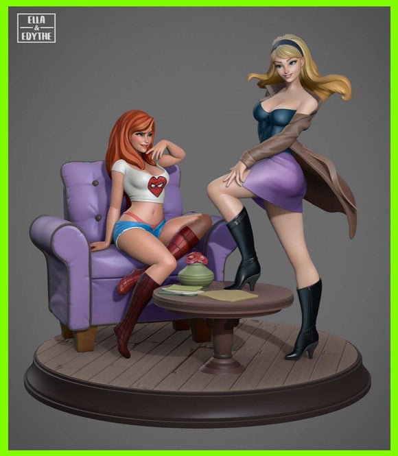Gwen and Mary Jane - STL File for 3D Print - indymodel88