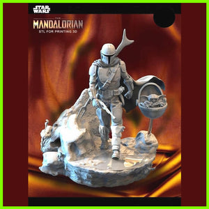 The Mandalorian and Baby Yoda - STL File for 3D Print - indymodel88
