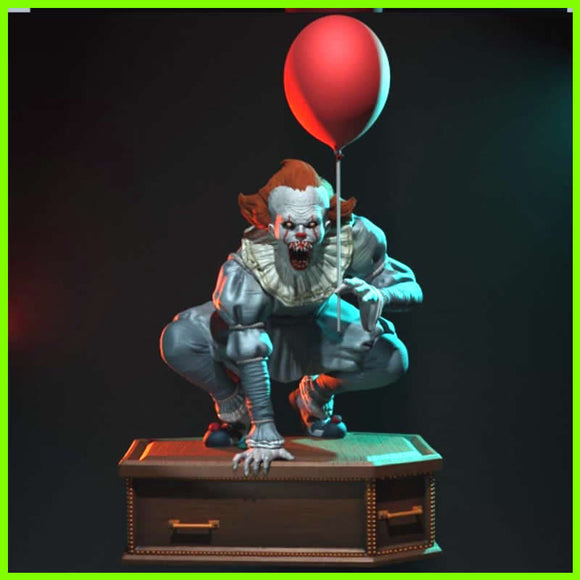 Pennywise on Coffin Statue - STL File for 3D Print - indymodel88