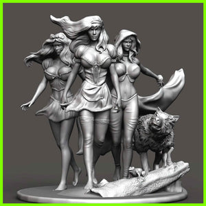 Princess Trio Statue - STL File for 3D Print - indymodel88
