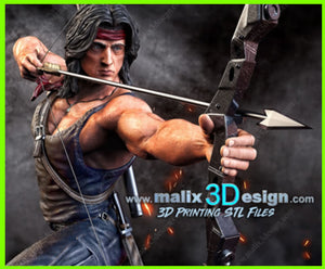 Rambo Sylvester Stallone - STL File for 3D Print - indymodel88