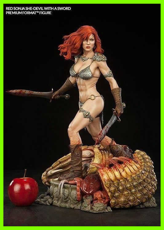 Red Sonja with Sword - STL File for 3D Print - indymodel88